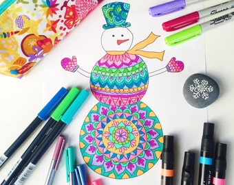 Downloadable coloring page, Snowman adult coloring page, Christmas coloring page, Kids coloring page download
