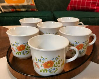 Six Vintage Corelle Wildflower Coffee Mugs