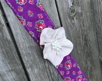 Purple floral fabric and flower headband