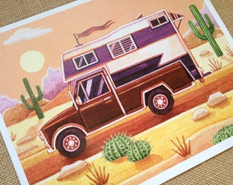 8 x 10 Summer Camping Vintage Trailer- Art Print