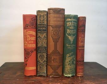 Antique Book Set: Fine Victorian Book Set, Five (5) Quality 19th Century Books Bound in Decorative Cloth