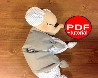 baby toy elephant Sewing Pattern waldorf doll pattern elephant PDF tutorial DIY Baby First Toy comforter Baby toy pattern baby shower toys