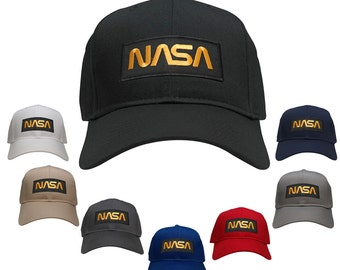 NASA Worm Gold Text Embroidered Iron On Patch Snapback Baseball Cap (27-079-PM302)