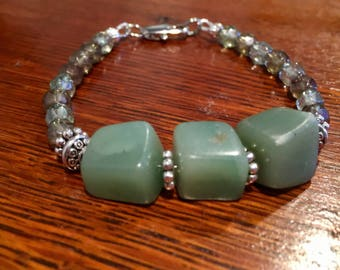 Beaded green aventurine and czech bead bracelet