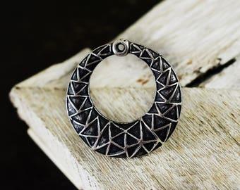 Ethnic Pendant 38mm, Boho Gypsy Pendant, Large Tribal Pendant, Antique Silver Round Pendant, 1 piece