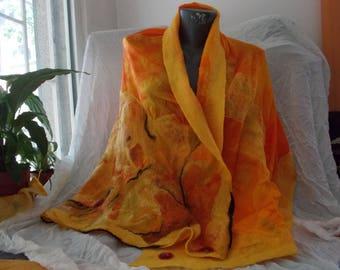 Orange shawl wrap, Wet felted scarf, Merino wool scarf, Orange poncho, Nuno felted scarf, Womens wool capes Merino wool shawl Felted poncho