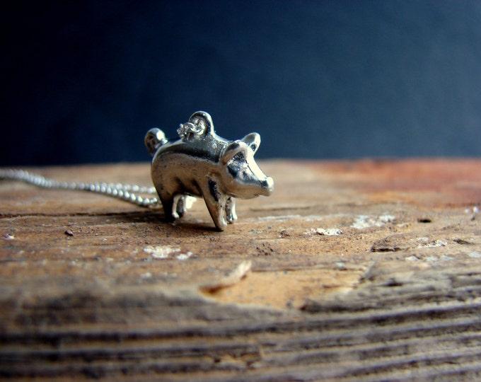 Tiny Pig Necklace Animal Necklace Sterling Silver Piglet Necklace Animal Jewelry