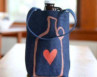Growler Bag, Screen Printed Denim Tote, Beer Love, Beer Gift for Him, Beer Bag, Beer Lover Gift, Under 25 Dollars, Father's Day Gift
