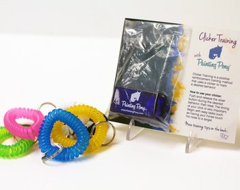 Clicker Training Set for Horses with Wrist Coil. Free Training Tips Included - Colorful