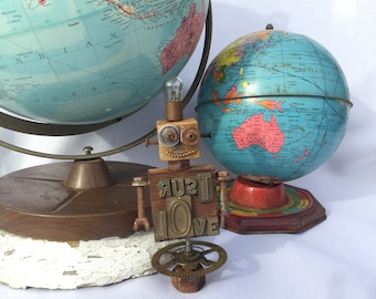 Rust Love, assemblage, sculpture, robot, recycled, whimsical, one of a kind