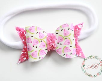 Watermelon Headband, Baby Watermelon Headband, Watermelon Bow Headband,  Bow Headband, Girls Bow Headband