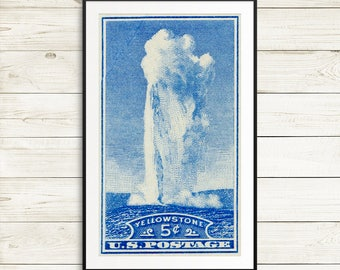 Yellowstone National Park poster, perfect fathers day gift, Old Faithful art print, vintage US postage stamp, vintage national park postcard