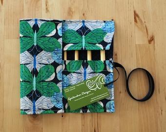 Crochet Hook Case / Organizer / Holder - Butterflies Fabric with Navy Cross Lining