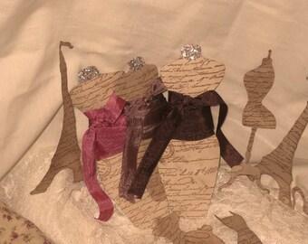 French Vintage Seam Binding Bordeaux Chocolat Dress Form Tag ECS