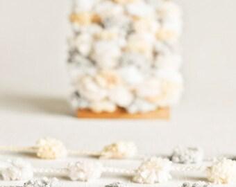 SALE Pom Pom Garland in Natural Shades - 6 Yards - Christmas White Gray Cream Novelty Twine Vintage Ribbon Trim Pompom Pretty Party Decor