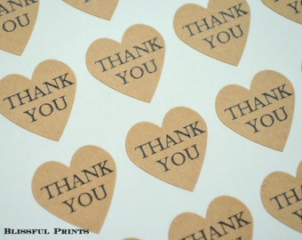 """Thank You Heart Stickers--108 Kraft Heart Stickers, 3/4"""" Heart Stickers, Envelope Seals, Wedding Label, Gift Wrapping, Thank You Sticker"""