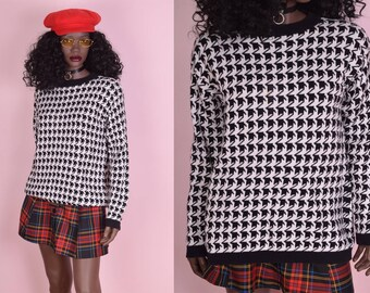 80s Black and White Houndstooth Sweater/ Medium/ 1980s