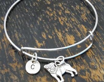 Pug Bangle Bracelet, Adjustable Expandable Bangle Bracelet, Pug Bracelet, Pug Charm, Pug Pendant, Pug Jewelry, Pug Dog, Pug Lovers, Pug Gift