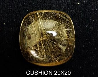 Rutileted Quartz 20x20 mm , Golden Rutileted Quartz, Rutile Cushion , Rutile Quartz Cushion, Golden Rutile