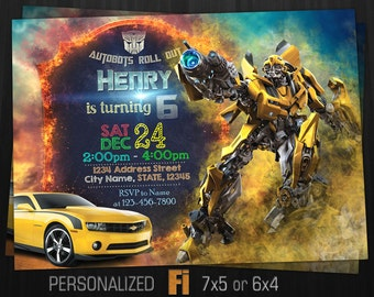 Transformers Invitation, Transformers Birthday Party, Bumblebee, Optimus Prime, Transphormers, Personalized, Printable, Digital File