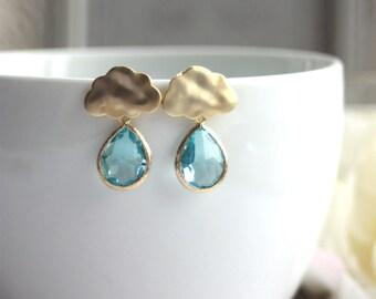 Raindrops Cloud Earrings. Aquamarine Glass Earrings. Sterling Silver Ear Post. For Sister. For Best Friends. Blue Aqua Rain Cloud Earring.