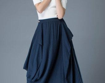 blue linen Skirt, Maxi linen skirt, linen skirt, long linen skirt, womens skirts, Asymmetrical skirt, Plus Size skirt, summer skirt  C830