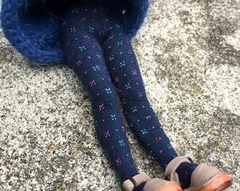 Middie blythe tights, tiny flower dot stockings, 8 inch doll socks, middie blythe accessory, blue doll tights, middie doll gift, blythe sock