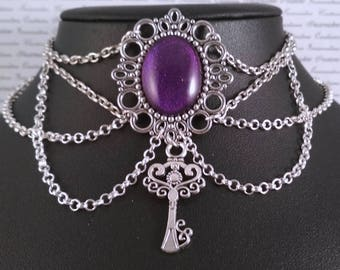 Handpainted purple stone and silver key chain choker necklace gothic victorian