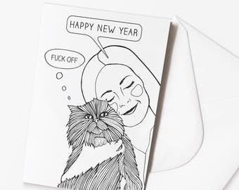 Funny Happy New Year Card | Funny Cat Card