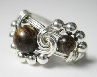 Sterling Silver Wire Wrapped Ring Bronzite Binary -- All Sizes Available