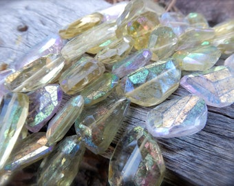 Beads Lemon Quartz and Amethyst Mix nuggets full strand mystic finish gemstones