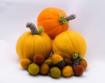 Wool Pumpkin Needle Felted Pumpkin Trio and Acorns 14 Free Shipping Fall Decor Home Decor Holiday Decoration