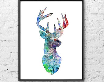 Deer print, watercolor deer, watercolor art print, painting deer, woodland animal, nursery animal, nature decor  - 142
