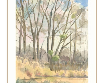 Landscape PRINT - pleinair gouache painting of trees and lake on location - pleinair landscape sketch by Catalina.