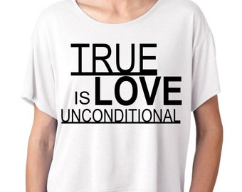 White Oversized Crop Top with Print Love is unconditional graphic tee tumblr statement shirt S M L/XL