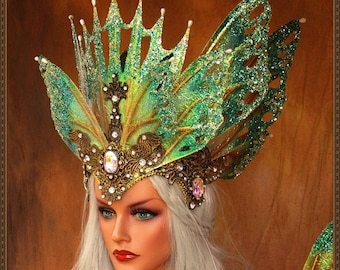 Iridescent Fairy Butterfly Queen Crown**Iridescent white/Teal/Gold**FREE SHIPPING**Costume/Masquerade/Cosplay/Weddings