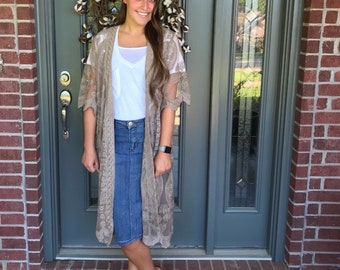 Taupe Lace Duster
