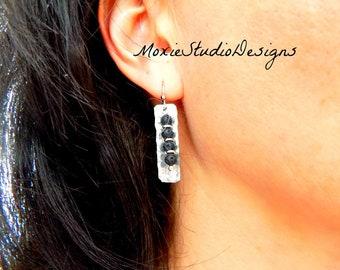 Black Lava Stone Earrings, Artisan Earrings, Black and Silver Earrings, Hammered Silver Earrings, Boho Earrings, Mixed Metal Earrings