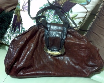 Vintage Sharif Handbag Purse -Brown and  Black Leather - crocodile  Skin