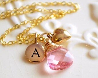 Pink Crystal Bridesmaid Necklace, Genuine Swarovski Crystal, Gold Plated Chain, Bronze Heart Charm, Initial Personalized Wedding Jewelry