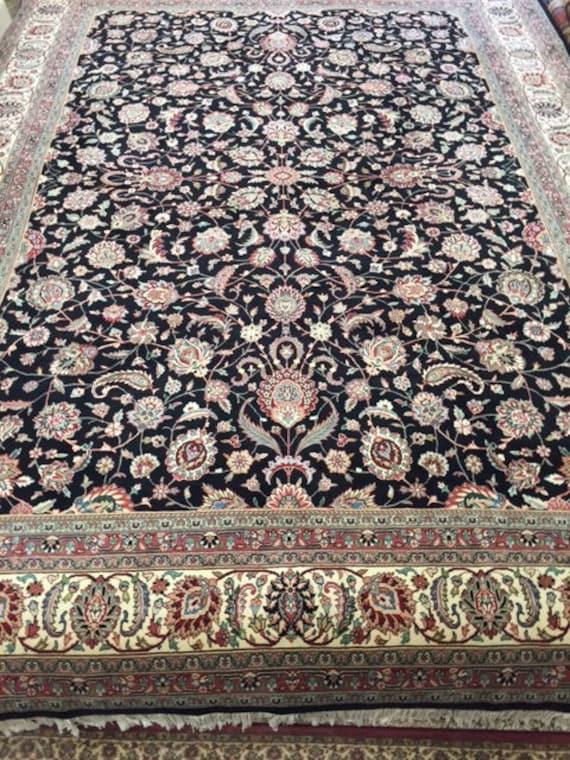 "9'1"" x 12'6"" Sino Chinese Kashan Design Oriental Rug - Wool & Silk - Hand Made - Very Fine"