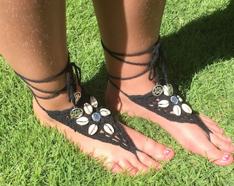 Black or Offwhite Crochet Barefoot Sandals with Kaurie Shells