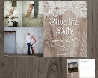 Country Lace Multi-Photo Save the Date Post Card Printable DIY