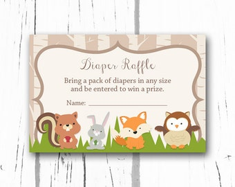 Woodland Baby Shower Diaper Raffle Tickets, Woodland Baby Shower Diaper Raffle Insert Card, Instant Download Printable