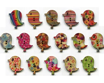set buttons birds * 3cm * pattern * wood