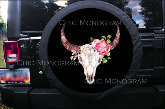 Custom Cow Skull Tire Cover Spare Tire Cover Bull Skull Flowers Custom Tire Cover Monogrammed Tire Cover Jeep Wrangler Accessories Jeep Tire
