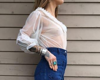 70s sheer gauze blouse
