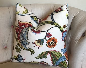 Floral Pillow Covington Wilmington Jacobean Floral in Red Blue Green Yellow 18 Inch 20 Inch 22 Inch 24 Inch Custom Pillow with Zipper