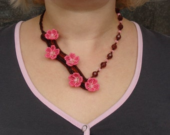 Handmade Beaded Jewelry, Women's Accessories, Spring blossom necklace Beaded flower necklace Pink bloom bib necklace Pink floral Mothers Day