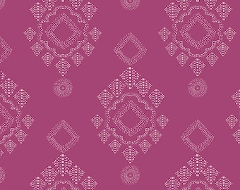 "Pink Geometric Fabric ""Joie de Vivre"" from Art Gallery ""Stitched Diamant Verve"" by Bari J.   100% cotton. JOI-89122 - Select Your Length"